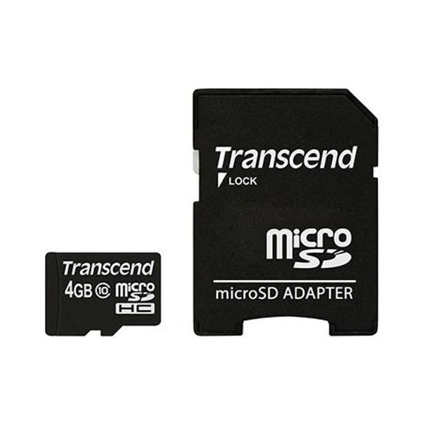 MICRO SD CARD 4GB CU ADAPTOR CLASS 10 TRANSCE