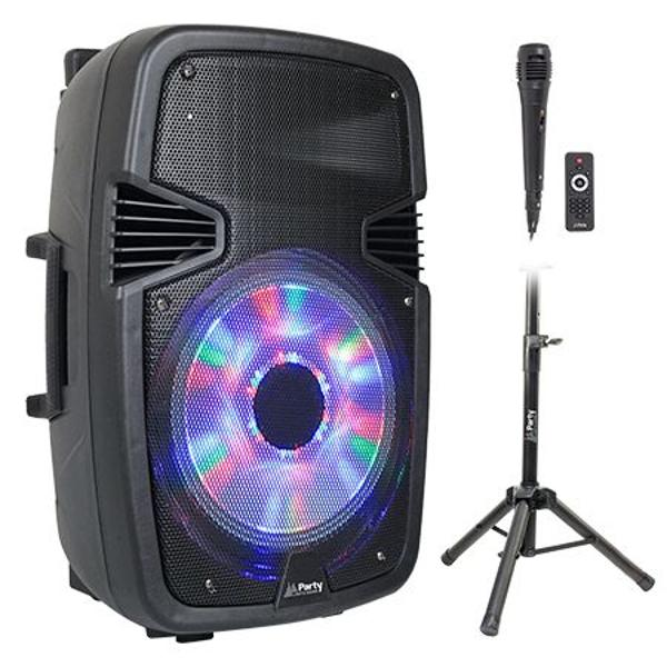 PARTY-15PACK - BOXA ACTIVA 15/38CM ILUMINAT LED CU BT/USB/SD/FM + STAND + MICROFON