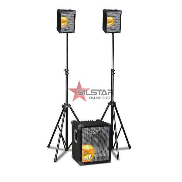 PA System 2.1 Portabil 280W + Mixer 4 Canale-CUBE202