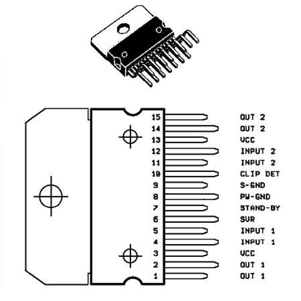 amplif  audio stereo in punte pt auto 2x20w  circuite
