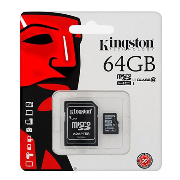 MICRO SD CARD 64GB CLASS 10 ADAPTOR KINGSTON
