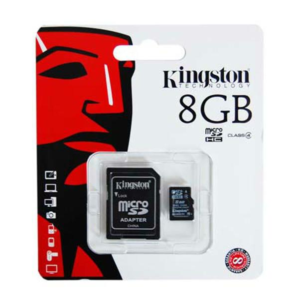 MICRO SD CARD 8GB CU ADAPTOR SD KINGSTON